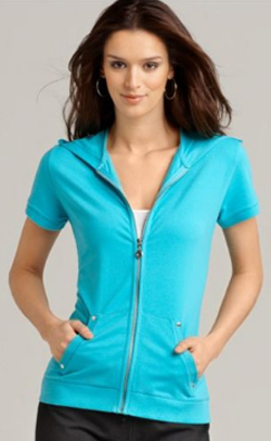 Short Sleeve Zip Hoodie Women'S | Fashion Ql